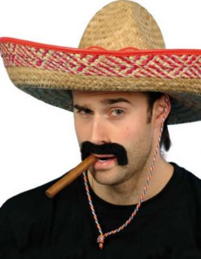 Mexican Sombrero - Fancy Dress Hat - Natural/Red